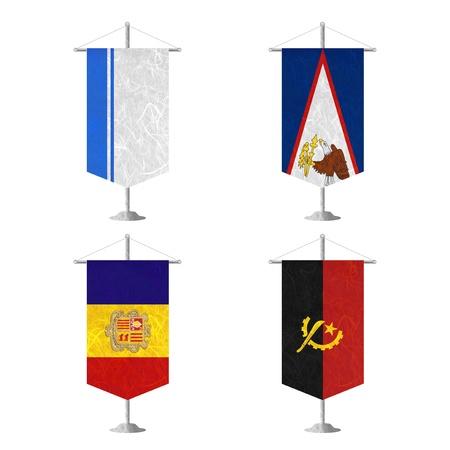 altai: Nation Flag. Table flag recycled paper on white background. ( Altai Republic , American Samoa , Andorra , Angola ) Stock Photo