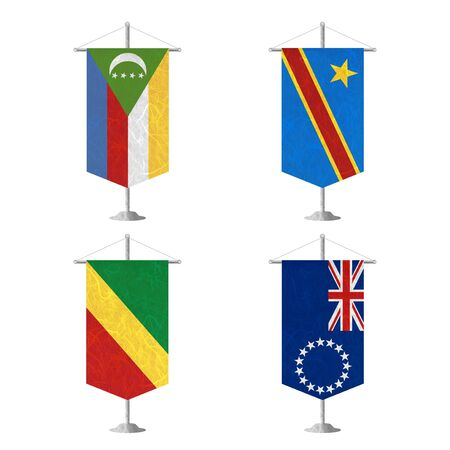 democratic republic of the congo: Nation Flag. Table flag recycled paper on white background. ( Comoros , Congo Democratic Republic , Congo Republic , Cook Islands) Stock Photo