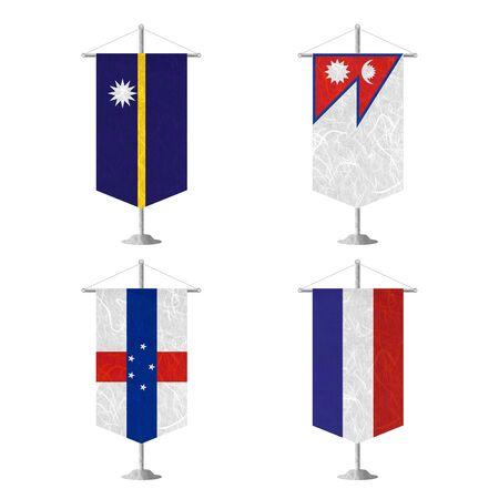 antilles: Nation Flag. Table flag recycled paper on white background. ( Nauru , Nepal , Netherlands Antilles , Netherlands )