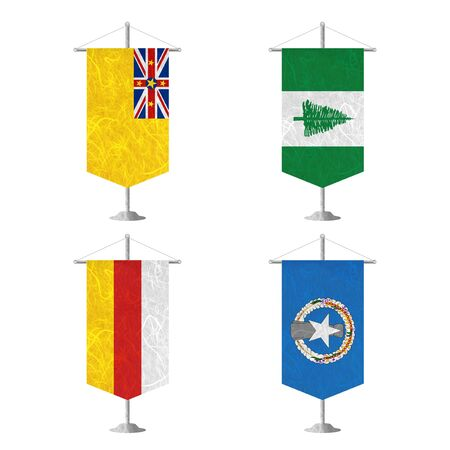 niue: Nation Flag. Table flag recycled paper on white background. ( Niue , Norfolk Island , North Ossetia , Northern Mariana Islands )