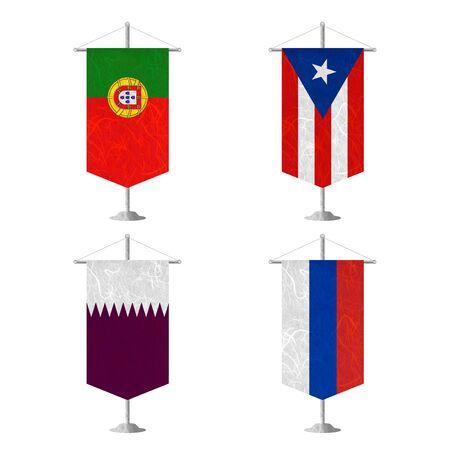 republika: Nation Flag. Table flag recycled paper on white background. ( Portugal , Puerto Rico , Qatar , Republika Srpska )