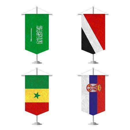 sealand: Nation Flag. Table flag recycled paper on white background. ( Saudi Arabia , Sealand Principality , Senegal , Serbia ) Stock Photo