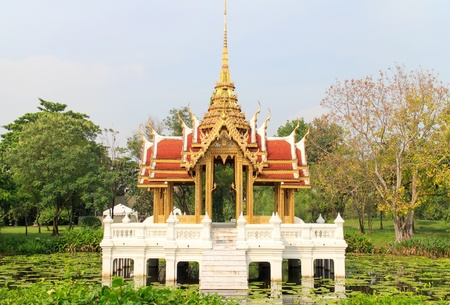 Classic and Ancient Pavilion Thai Style in Thailand Garden photo