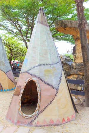 tipi: A Tipi teepee or tepee - Indian tent in the forest. Stock Photo