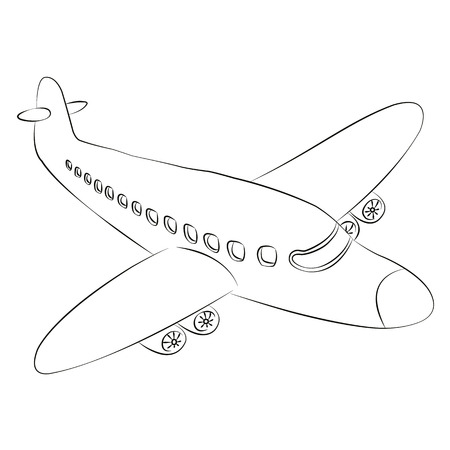Black outline vector airplane on white background. Vector
