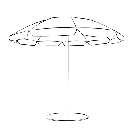 Black outline vector beach umbrella on white background. Vector