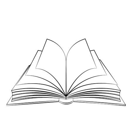 Zwarte omtrek vector boek op witte achtergrond.