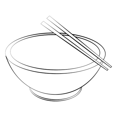 Black outline vector bowl and chopsticks on white background. Vector