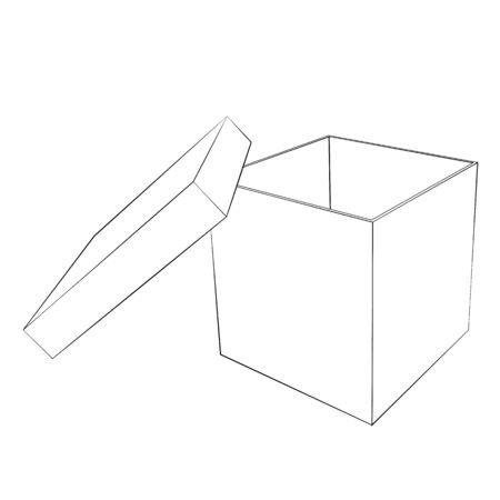 Black outline vector box on white background.