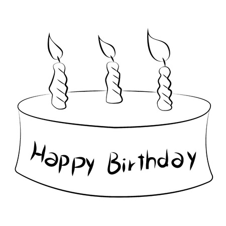 Black outline vector Cake on white background. Vector