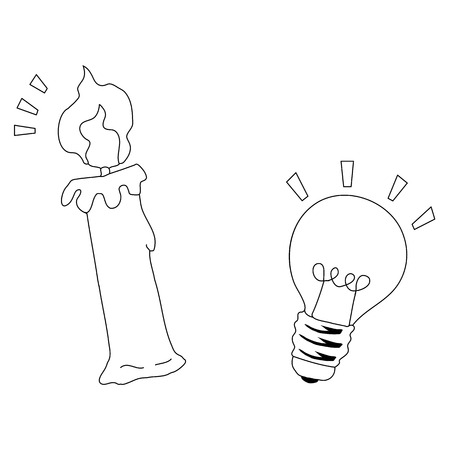 Candles and Light bulbs draw a line on a white background. Vector