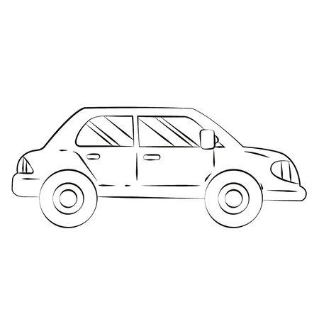 Black outline vector car on white background. Vector