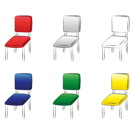 Vector set office chair illustrations on white background. Vector