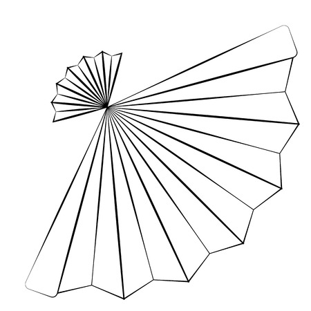 chinese fan: Black outline vector fan on white background.