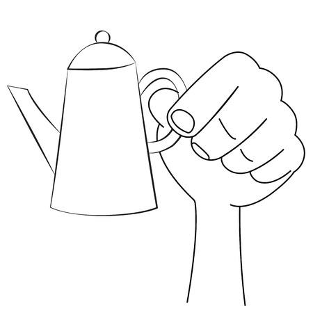 ewer: Black outline vector flagon on white background.