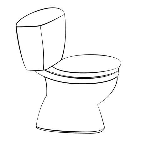 Zwarte omtrek vector flush toilet op witte achtergrond.