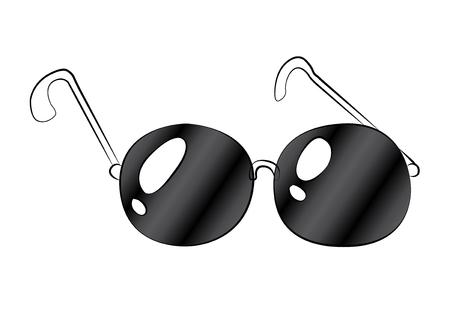 Black outline vector glasses on white background. Vector