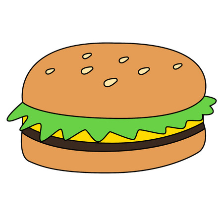 Black outline vector hamburger on white background. Vector