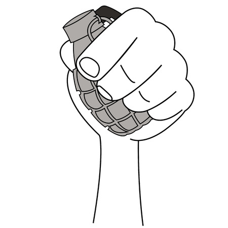 hand grenade: Black outline vector hand grenade on white background.