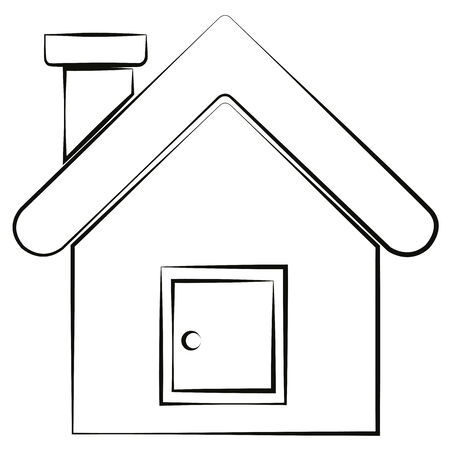 Black outline vector house on white background. Vector