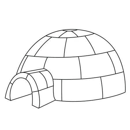 Black outline vector igloo on white background. Vector