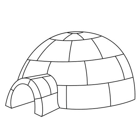 Zwarte omtrek vector iglo op een witte achtergrond.