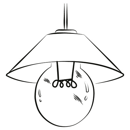 luster: Electric lamp sketch in black lines on white background.