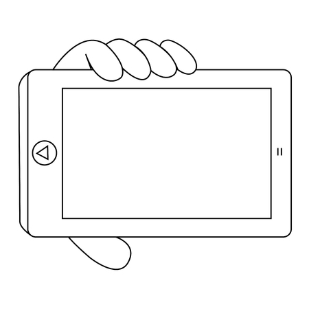 touch sensitive: Black outline vector mobile phone on white background. Illustration