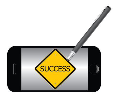 Success road sign by stylus on mobile phone, vector illustration. Vector