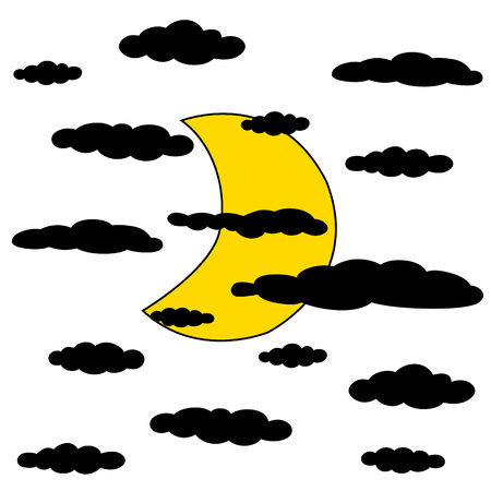Black outline vector moon and cloud on white background. Illustration