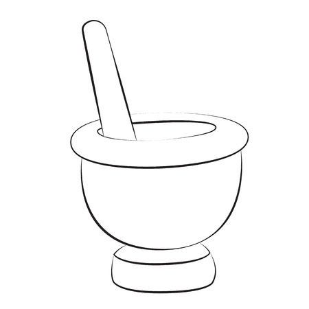 Black outline vector mortar and pestle on white background. Vector