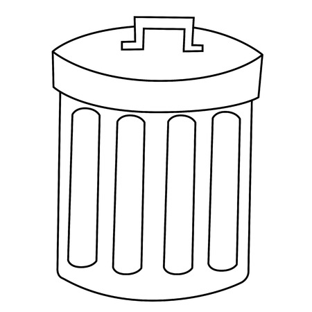 disposed: Outline of garbage can or recycle bin on white background.