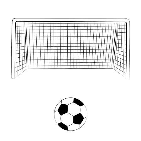 doelen: Zwarte omtrek vector voetbal op een witte achtergrond. Stock Illustratie