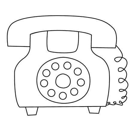 cartoon vector outline illustration telephone ringing old-fashioned with receiver, isolated Illustration