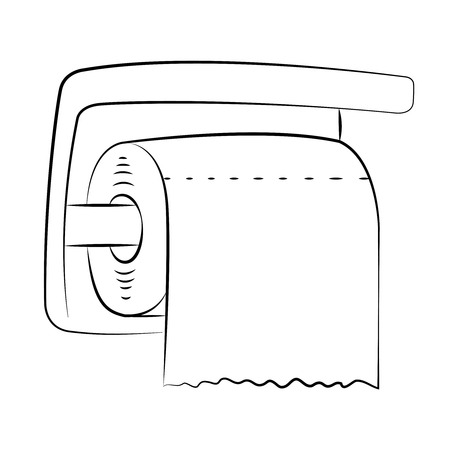 Black outline vector toilet paper on white background. Vector