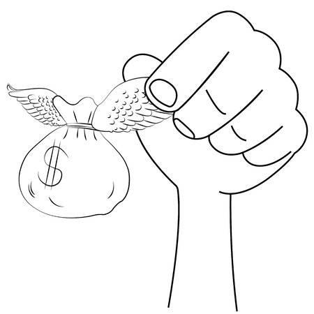 Black outline vector angel wings of money on white background. Vector
