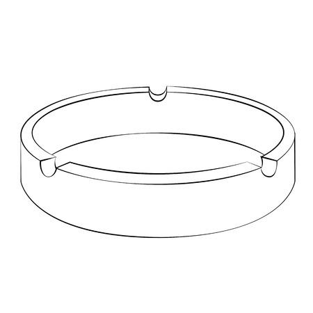 ashtray: Black outline vector ashtray on white background. Illustration