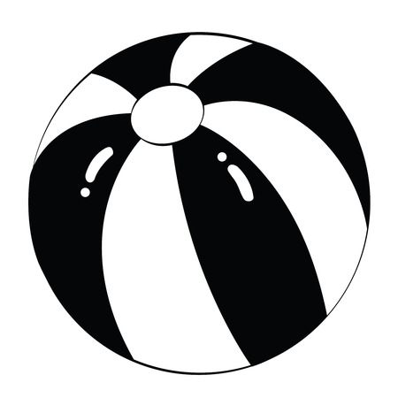 beach ball: Black outline vector beach ball on white background.