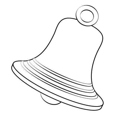 Black outline vector bell on white background. Иллюстрация