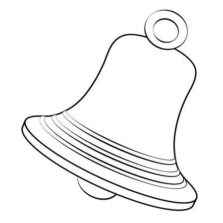 Black outline vector bell on white background. Illustration