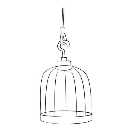 Black outline vector bird cage on white background.