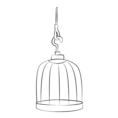 Black outline vector bird cage on white background.