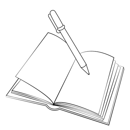 Black outline vector book on white background. Vector