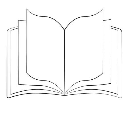 livre �cole: Contour noir vecteur livre sur fond blanc.
