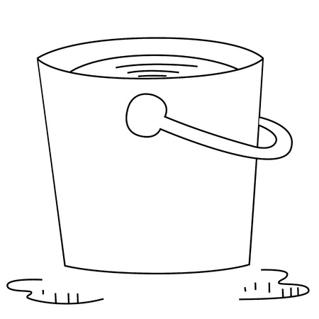 Black outline vector bucket on white background. Vector