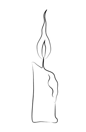 Candles stick draw a line on a white background. Vector