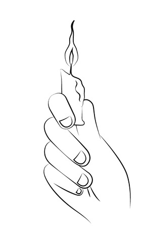 Black outline vector candle stick on white background. Vector