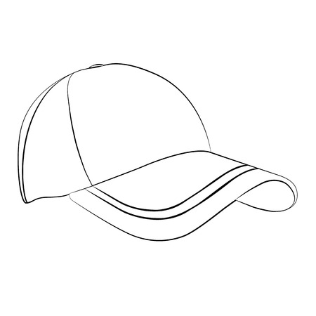 sported: Black outline vector cap on white background.