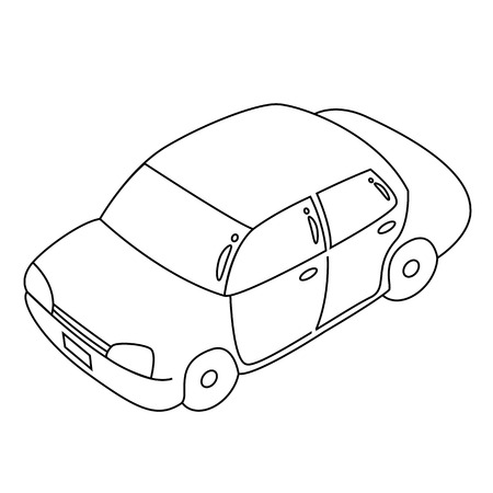 black outline vector car on white background. Vector