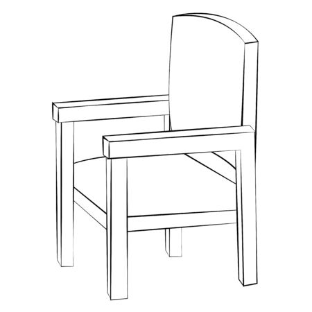 Black outline vector chair on white background. Vector